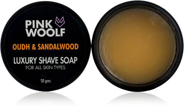 Pink Woolf Luxury Shaving Soap - Oudh & Sandalwood - Creates Moisturizing Lather