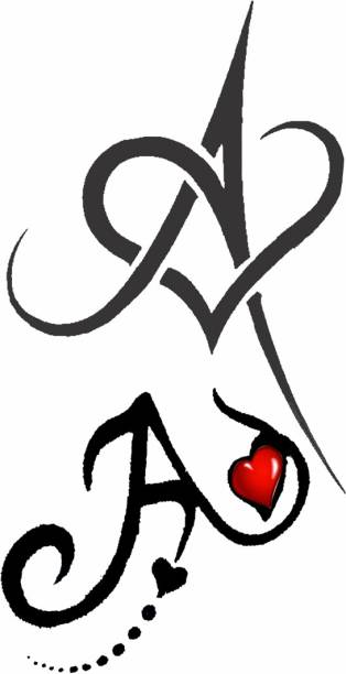 voorkoms Name A Letter Two Design Body Temporary Tattoo