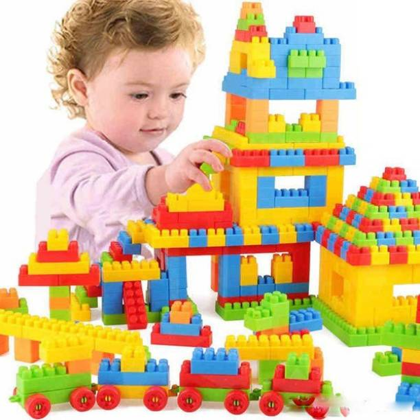 FRAONY BEST BABY GIFT 100+pieces building blocks Creative Learning Educational Toy for Kids Puzzle Assembling Shape Building Unbreakable Toy Set