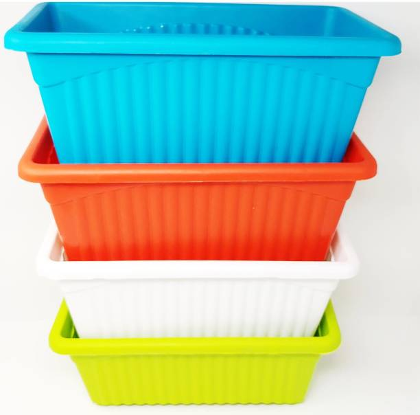 Oshi Greens Rectangle Flower Pots Plant Container Set