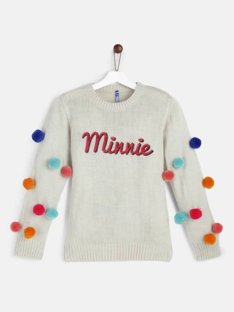 YK Disney Self Design Round Neck Casual Girls White Sweater
