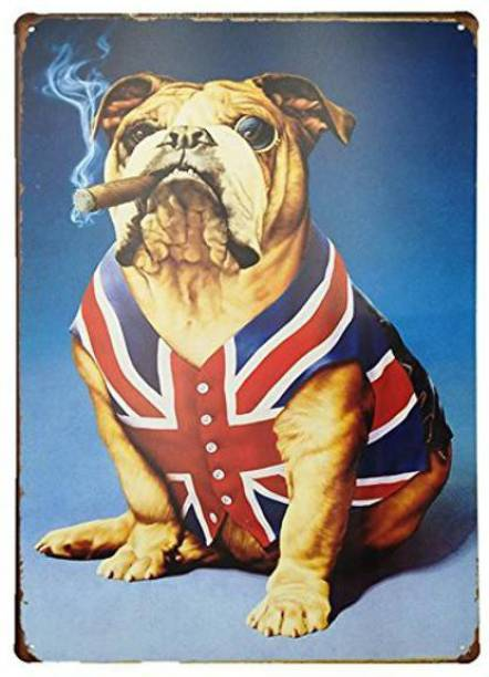 House of Queens British Bull Dog with Cigar Retro Vintage Decorative Tin Metal Sign For Home | Kitchen | Bar | Office | Wall Hanging Decor Sign