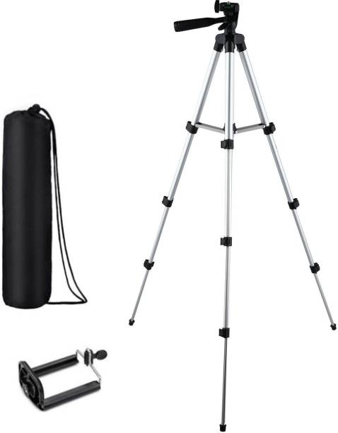 webster Tripod-3110 Adjustable Aluminium High Quality Lightweight Camera Stand With Three-Dimensional Head & Quick Release Plate For Video Cameras, DSLR, Portable Tripod With Mobile Holder Clip Mobile Holder