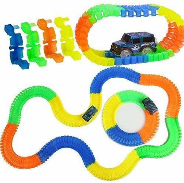 Vastarpara Magic Race Bend Flex and Glow Rail Tracks Toy car for Kids 11 Ft Long Twisted Flexible Tracks with Electric Car for Kids Boys