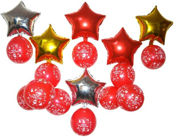 Flipkart SmartBuy Decorative Foil Balloon Star with Merry Christmas Printed Red Balloon for Christmas Decoration (6 Foil Star, 25 Balloons) Hanging Star Pack of 1