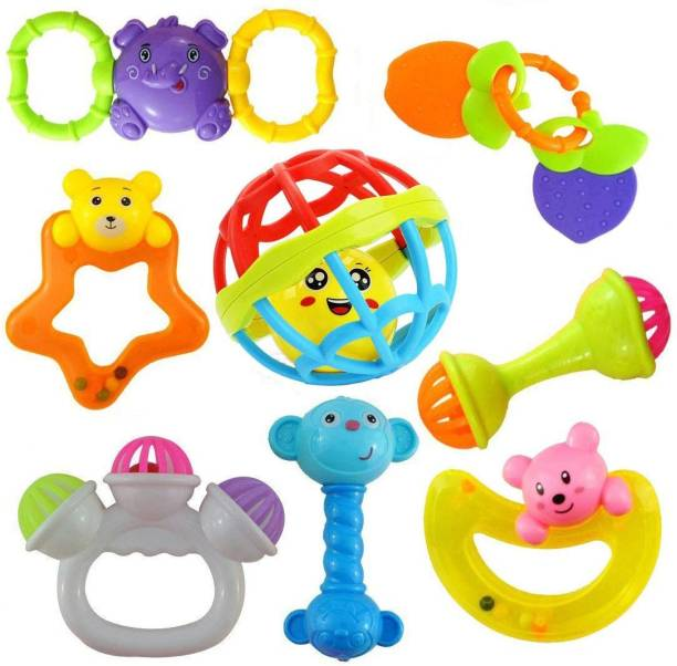 LWF Lovely Attractive Colorful Non Toxic BPA Free 7 Rattles and 1 Teether Toys Set for Babies, Infants Rattle