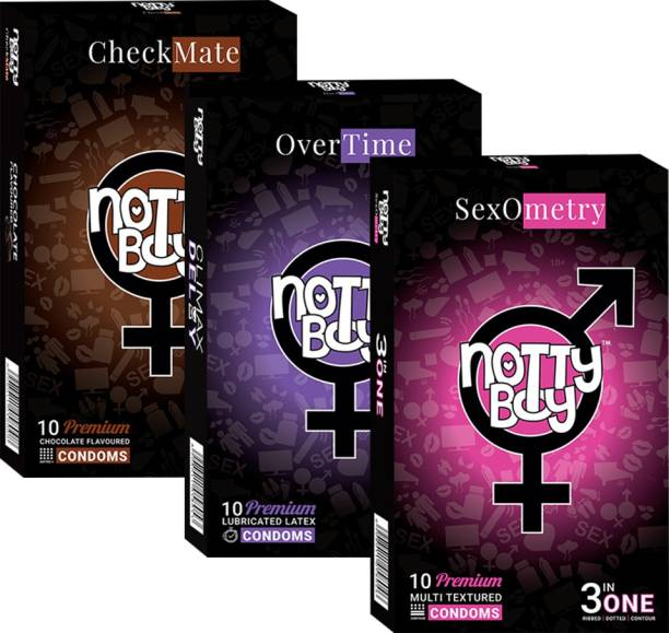 NottyBoy Chocolate Ribbed Extra Time (30Pcs) Condom