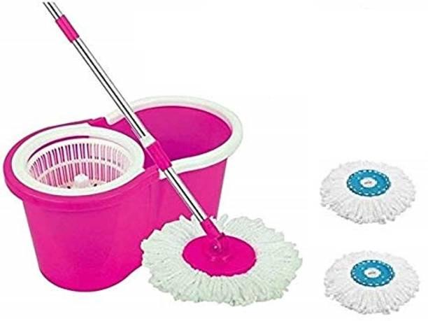 Diem 360° Spin Floor Mop And Bucket with Plastic Spinner_2 Microfiber Refill_Pink Mop Set