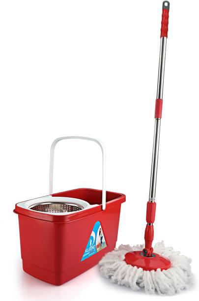 cello Kleeno Super Clean Spin Mop Bucket (Red, 3-Pieces) Mop
