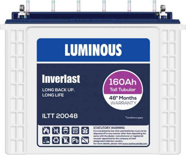 LUMINOUS Inverlast ILTT20048 160Ah Tall Tubular Battery Tubular Inverter Battery