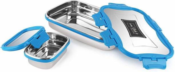 cello Click It Stainless Steel Lunch Pack for Office & School Use (Veg Box Included, Blue) 2 Containers Lunch Box