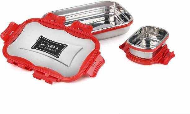 cello Click It Stainless Steel Lunch Pack for Office & School Use (Veg Box Included, Red) 2 Containers Lunch Box