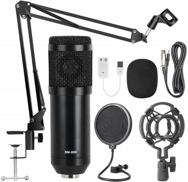 Techtest Studio Mic BM-800 Condenser Microphone For Professional Condenser Microphone Sound Studio Recording Dynamic Windows and Mac with Suspension Scissor Arm Stand, Shock Mount and Table Mounting Clamp Kit for Broadcasting and Sound Recording ( Black )