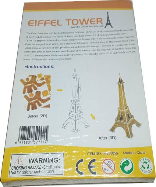 lookat 3D Puzzle Eiffel Tower Educational Play Game for Kids