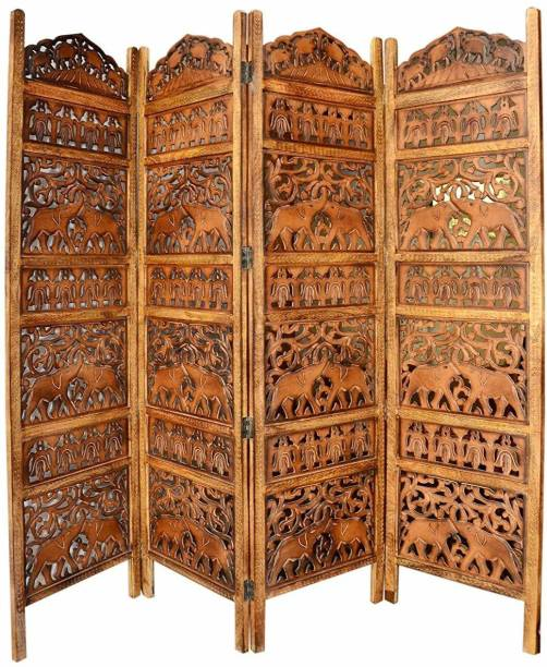 Artesia Artesia Handcrafted 4 Panel Room Partition (Brown) Solid Wood Decorative Screen Partition