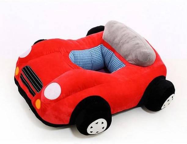 AVS Car Shape Soft Plush Cushion Baby Sofa Seat or Rocking Chair for Kids - 45 cm Red Fabric Sofa