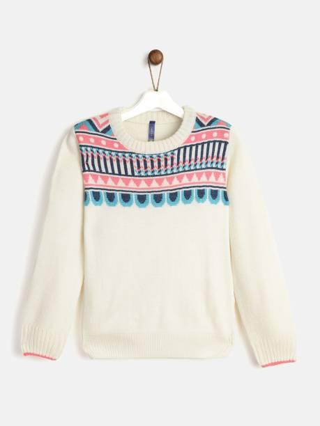 Yk Printed Round Neck Casual Girls White Sweater