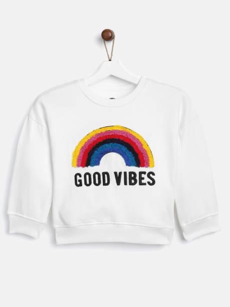 Yk Full Sleeve Self Design Girls Sweatshirt