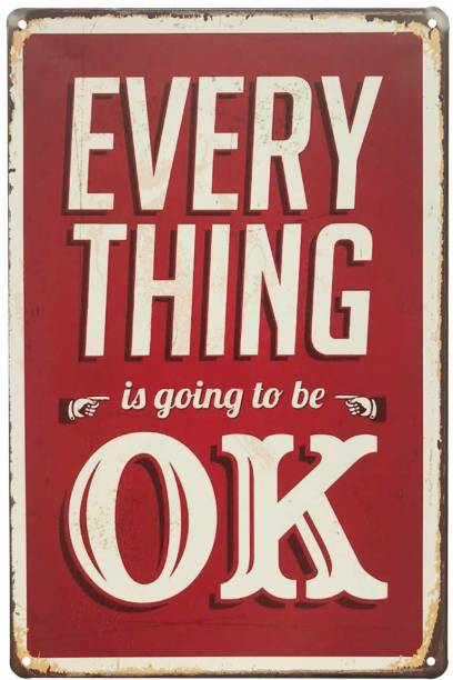 House of Queens Everything Is Going To Be Ok Retro Vintage Decorative Tin Metal Sign For Home | Kitchen | Bar | Office | Wall Hanging Decor Sign