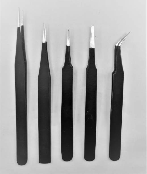 RIVER FOX Black Coated Stainless Steel Non Magnetic Tweezers Set of 5