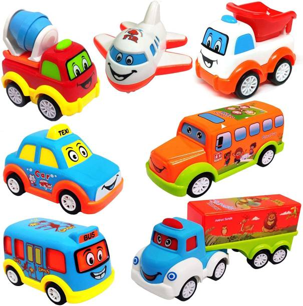 Learn With Fun Unbreakable Pull Back Texi Car Truck Bus Plane Toy for Boys girls Kids
