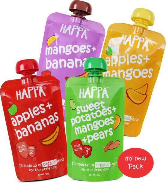 Happa Organic Mixed Fruit Variety Puree, baby food, anti-bacterial neem wood comb for infants, kids&baby Cereal