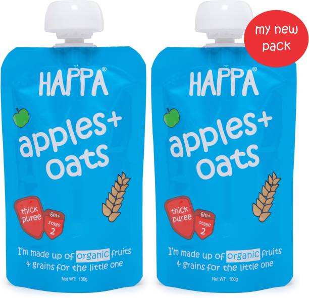 Happa Organic Apples And Oats Fruit And Grain Puree, baby food Cereal