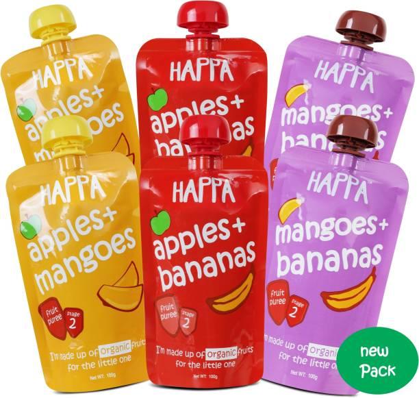 Happa Organic Fruit Puree Combo (Apple&Mango Mango&Banana Apple&Banana) Baby Food, anti-bacterial neem wood comb for infants, kids&baby Cereal