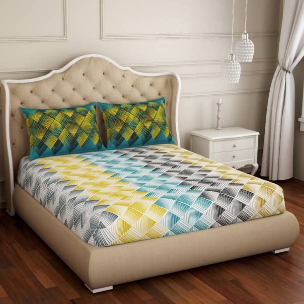 SPACES 144 TC Cotton Double Geometric Bedsheet