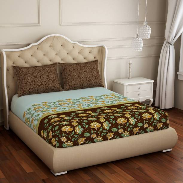 SPACES 210 TC Cotton Double Floral Bedsheet
