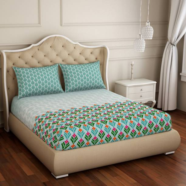 SPACES 210 TC Cotton Double Abstract Bedsheet