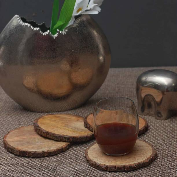CASA DECOR Round Wood Coaster Set