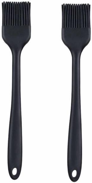 P-PLUS INTERNATIONAL Silicone Basting Brush 21cm |Pack of 2 BLACK Silicone Basting Brush 21cm |Pack of 2 BLACK Flat Pastry Brush