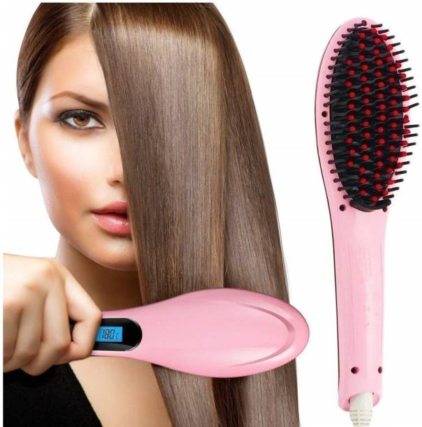 MS Enterprises Women's Hair Straightening Brush with LCD Screen, Temperature Control Display, Hair Electric Comb Brush 3 in 1 Ceramic Fast Hair Straightener For Women's