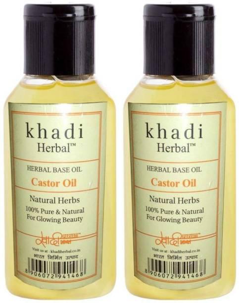 Khadi Herbal HERBAL KHADI PURE CASTOR OIL PACK OF 2 (100ML) Hair Oil
