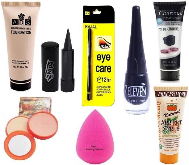 SWIPA Kajal+Charcoal(100gm)+Foundation+Eyecare kajal+Eyeliner+Charcoal+2in1 Compact+Puff+Scrub(50gm)