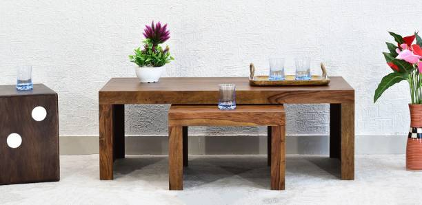 SamDecors Solid Sheesham Wood Emily Set of Two Nesting Tables (Set of One Centre Coffee Table and One Side Table) (Lacquer Finish, Natural Teak) Solid Wood Nesting Table