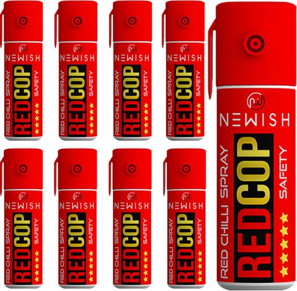 NEWISH : Powerful Red Chilli Pepper Spray Self Defence for Women Pack Of 9 Each (55 ml |35 gm|50 shots) Upto -15 Feet Pepper Stream Spray
