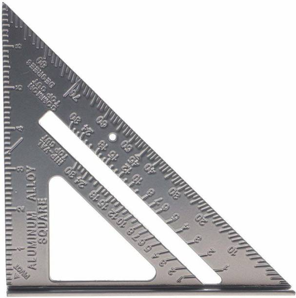 bosig Double Side Scale Stainless Steel Metric Inch Triangle Ruler Measurement Hand Tools (180 mm) Ruler (Set of 1, Silver) Ruler
