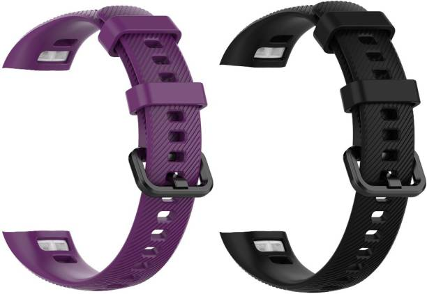 Epaal Silicone Band Compatible with Honor Band 5 & Honor Band 4 Purple & Black Smart Watch Strap Smart Watch Strap