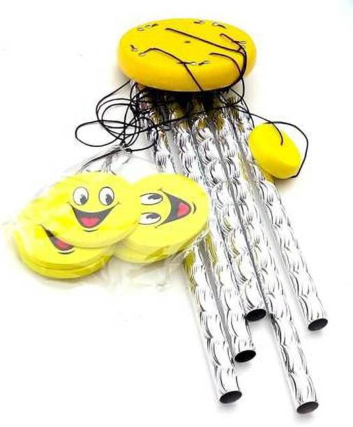 shanol Yellow Smiley face wind chime Hanging For Home, Balcony, Garden, Gallery, Bedroom Wood Aluminium Windchimefor home decoration(24 inch, Silver, Yellow) also a vastu and happiness wind chime for possitive energy wind chime for home decoration Wood, Aluminium Windchime
