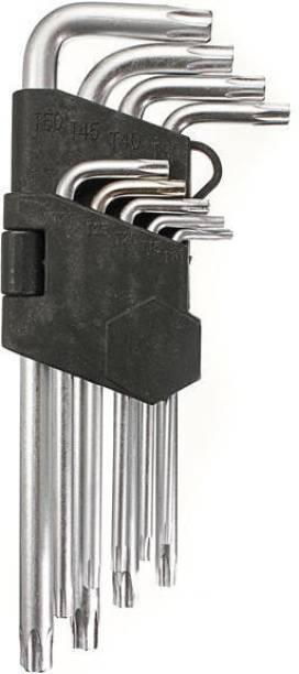 Inditrust 9pcs T10-T50 Torx Hex Wrench Screwdriver Star Key L Wrench Set Allen Key Set