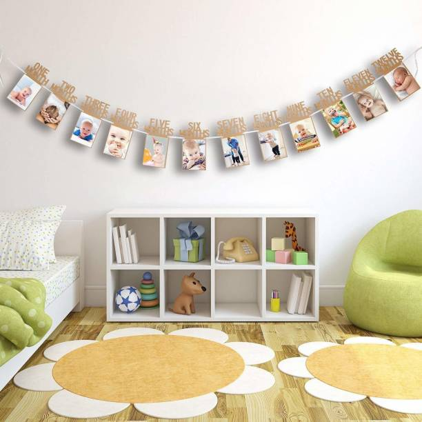 OneStop Global Multi Glitter 12 Months Photo Frame Banner First Happy Birthday Decorations Party Supplies Banner