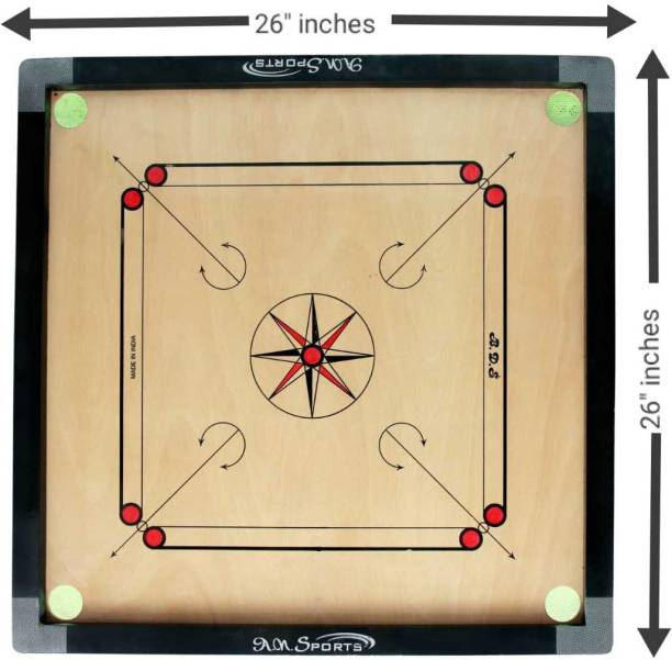 Bd sports Medium Size Wooden Carrom Board 26 inches with Coinset, Striker and Powder 66.04 cm Carrom Board