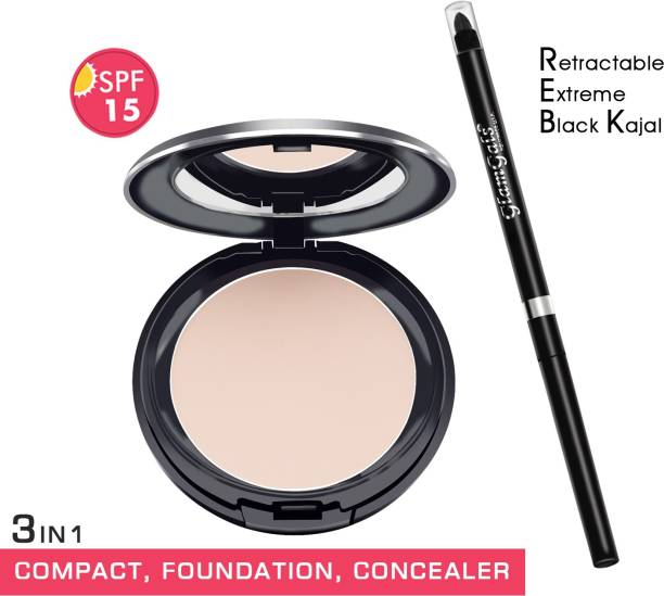 GlamGals HOLLYWOOD-U.S.A 3 in 1 Three Way Cake Compact Makeup+ Foundation + Concealer SPF 15,14.5 g & Retractable black kajal