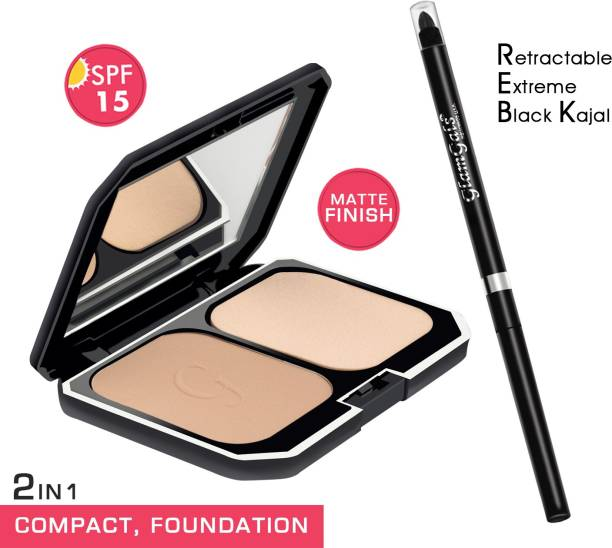 GlamGals HOLLYWOOD-U.S.A 2 in 1 Two Way Cake Compact Makeup + Foundation SPF 15,10 g (Earth Glow) & Retractable black kajal