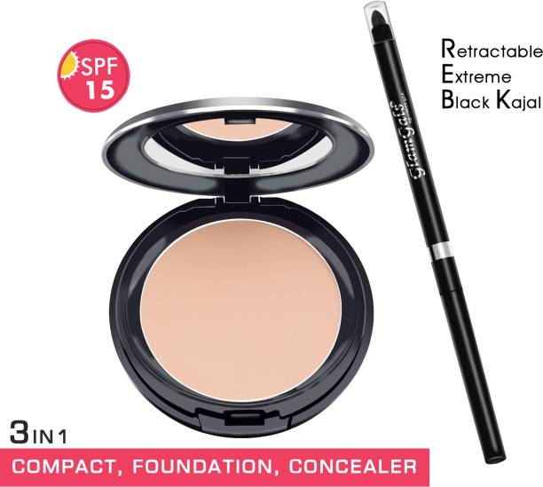 GlamGals HOLLYWOOD-U.S.A 3 in 1 Three Way Cake Compact Makeup+ Foundation + Concealer SPF 15 and Retractable black kajal