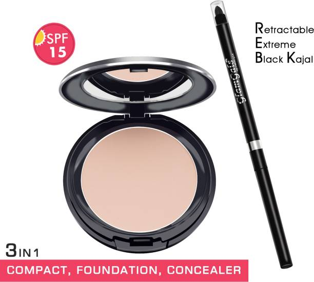 GlamGals HOLLYWOOD-U.S.A 3 in 1 Three Way Cake Compact Makeup+ Foundation + Concealer SPF 15,14.5 g and Retractable black kajal