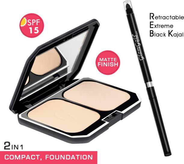 GlamGals HOLLYWOOD-U.S.A 2 in 1 Two Way Cake Compact Makeup + Foundation SPF 15,10g (Brown) & Retractable black kajal