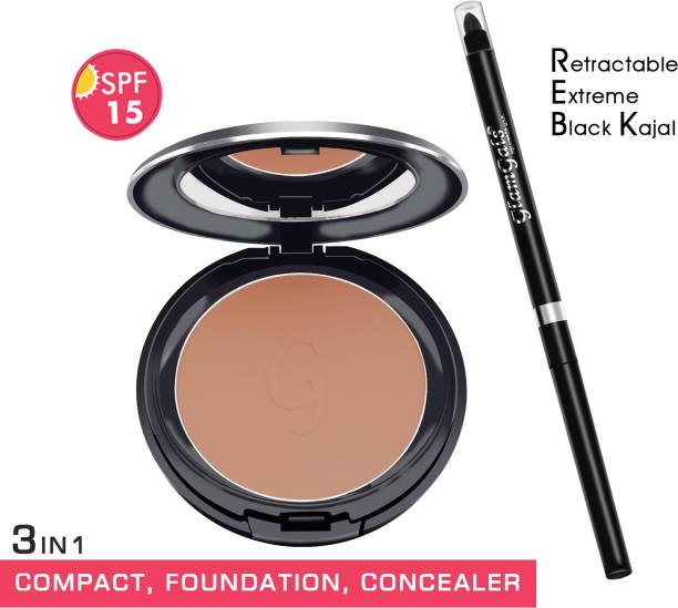 GlamGals HOLLYWOOD-U.S.A 3 in 1 Three Way Cake Compact Makeup+ Foundation + Concealer SPF 15 & Retractable black kajal